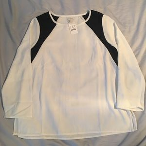 J. Crew Factory White and Black Colorblock Blouse